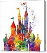 Disney Castle 6 Watercolor Print Canvas Print