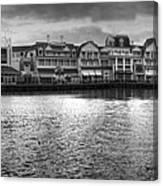 Disney World Boardwalk Gazebo Panorama Bw Canvas Print