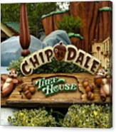 Disneyland Chip And Dale Signage Canvas Print