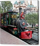 Disneyland Railroad Engine 3 With Castle Canvas Print