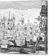 Disneyland Small World Panorama Pa Bw Canvas Print