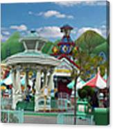Disneyland Toontown Young Man Proposing To His Lady Panorama Canvas Print