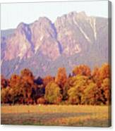 Distant Cattle Grazing Beneath Cascade Mountains 1 Canvas Print