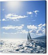 Distant View Of Sailboat Canvas Print