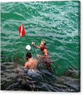 Divers At Sebastian Inlet On The Atlantic Coast Of  Florida Canvas Print