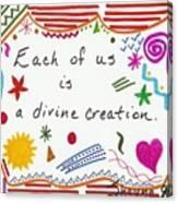 Divine Creation Doodle Quote Canvas Print