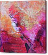 Divine Heart Abstract Orange Pink Heart Painting 8x10 Original Contemporary Modern Painting Canvas Print
