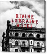 Divine Lorraine Hotel Marquee Canvas Print