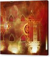 Diwali Card Lamps And Murals Blue City India Rajasthan 2h Canvas Print