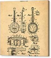 Dixie Banjolele Patent 1954 In Sepia Canvas Print