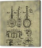 Dixie Banjolele Patent 1954 In Weathered Canvas Print