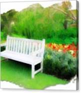 Do-00138 White Bench Canvas Print