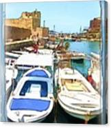 Do-00347 Boats In Byblos Port Canvas Print