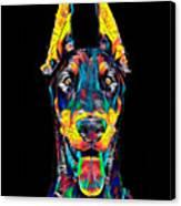 Doberman Dog Breed Head Pet Breed True Friend Color Designed Canvas Print