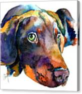 Doberman Watercolor Canvas Print