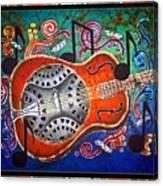 Dobro - Slide Guitar-bordered Canvas Print