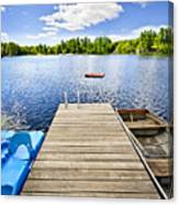 Dock On Lake In Summer Cottage Country Canvas Print