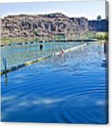 Docks Form Perimeter Of Dierkes Lake In Snake River  Near Twin Falls-idaho  Canvas Print