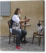Dog And Master Canvas Print