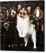 Dog On A Dark Background In The Style Of Steampunk Canvas Print
