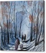 Dog Walking 2, Watercolor Painting Canvas Print