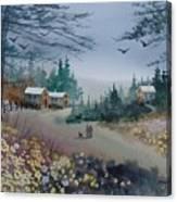 Dog Walking, Watercolor Painting  Canvas Print