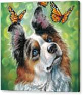 Dog With Butterflies Canvas Print