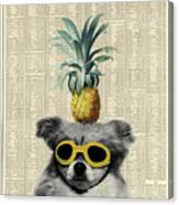 Dog With Goggles And Pineapple Canvas Print
