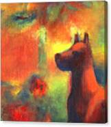 Dog With Red Flowers Canvas Print