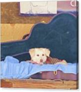 Doggy In The Guitar Case Canvas Print