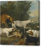 Dogs In A Landscape With Their Catch Canvas Print