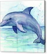 Dolphin Watercolor Canvas Print
