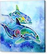 Dolphins Dance Canvas Print
