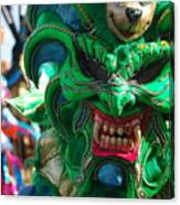 Dominican Republic Carnival Parade Green Devil Mask Canvas Print