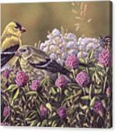 Don't Bug Us - Goldfinches Monarch Butterfly Canvas Print