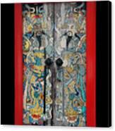 Door Gods With Red Door Frame Canvas Print