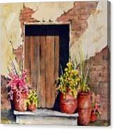 Door With Pots Canvas Print