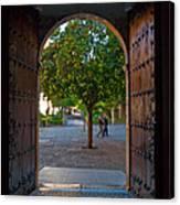 Doorway And Arch Between Gardens Canvas Print