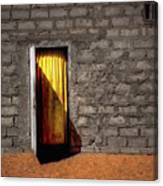 Doorway To A Yellow Curtain Canvas Print