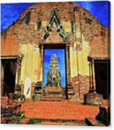 Doorway To Wat Ratburana In Ayutthaya, Thailand Canvas Print