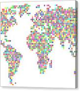Dot Map Of The World - Colour On White Canvas Print