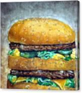 Double Burger To Go Canvas Print
