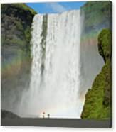 Double Rainbow By Skogafoss Waterfall Canvas Print