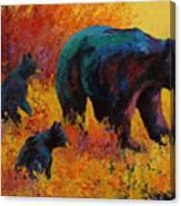 Double Trouble - Black Bear Family Canvas Print