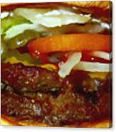 Double Whopper With Cheese And The Works - Painterly Canvas Print