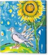 Dove And Sunflower Canvas Print