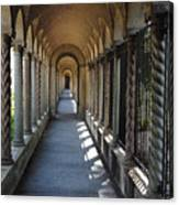 Down The Portico At The Franciscan Monastery In Washington Dc With Digital Effects Canvas Print