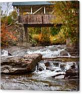 Down The Road To Greenbanks's Hollow Covered Bridge Canvas Print