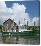 Downeast Style Yacht Docked On Shem Creek In Charleston Canvas Print
