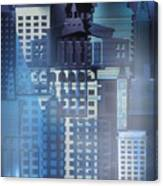 Downtown Abstract - Blue Mist Canvas Print